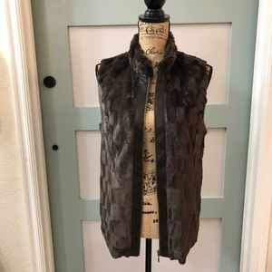 Multiples Brand  Faux Fur Zip Vest